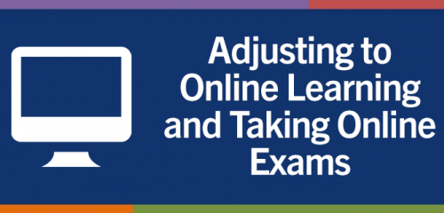 Adjusting to online learning and taking online exams banner