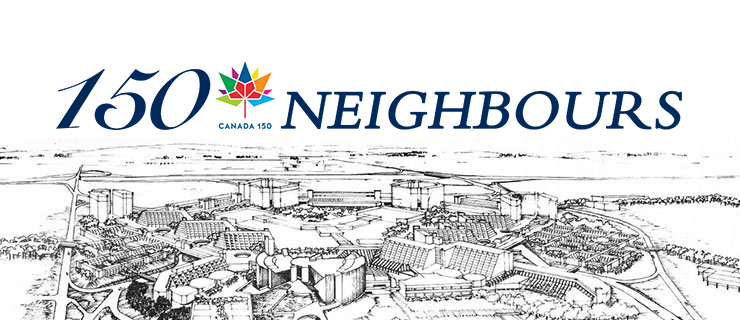 150 neighbours logo and sketch drawing of Scarborough.