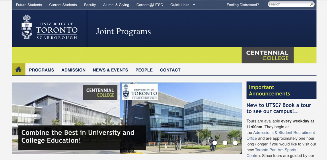 Joint programs website screenshot