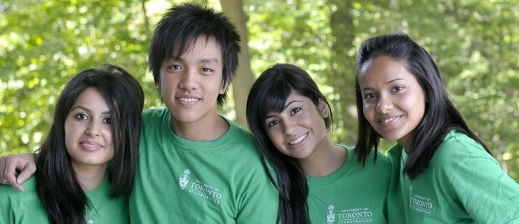 Four students from the International Student Centre posing