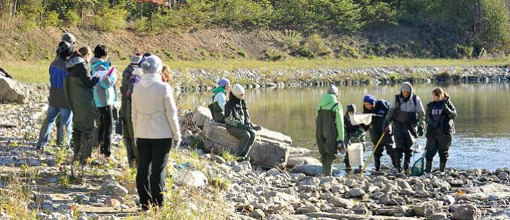 Environmental Science students doing field coursework