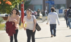 Students enjoying a walk from residence