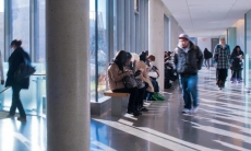 Students on the second floor of the Arts & Administration building