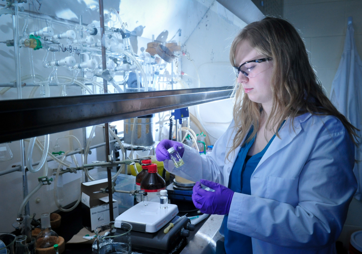 UTSC Student in lab