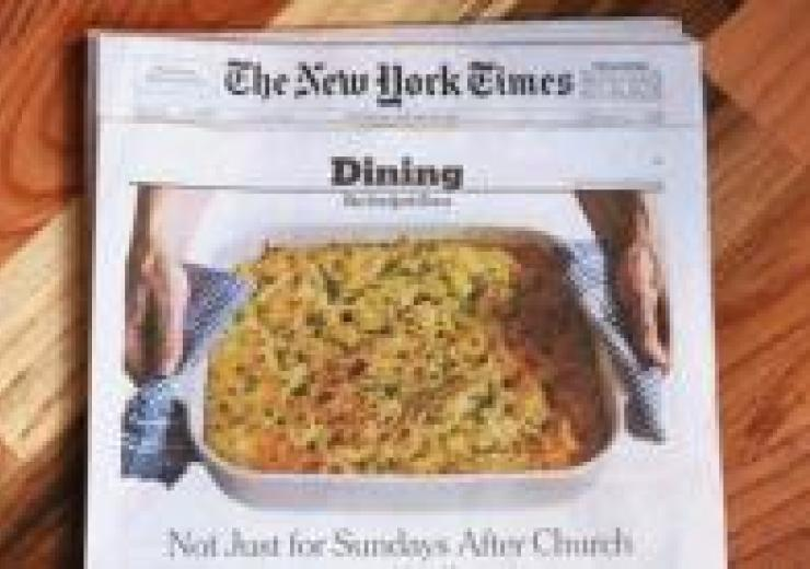 New York Times newspaper; Dining section, front cover