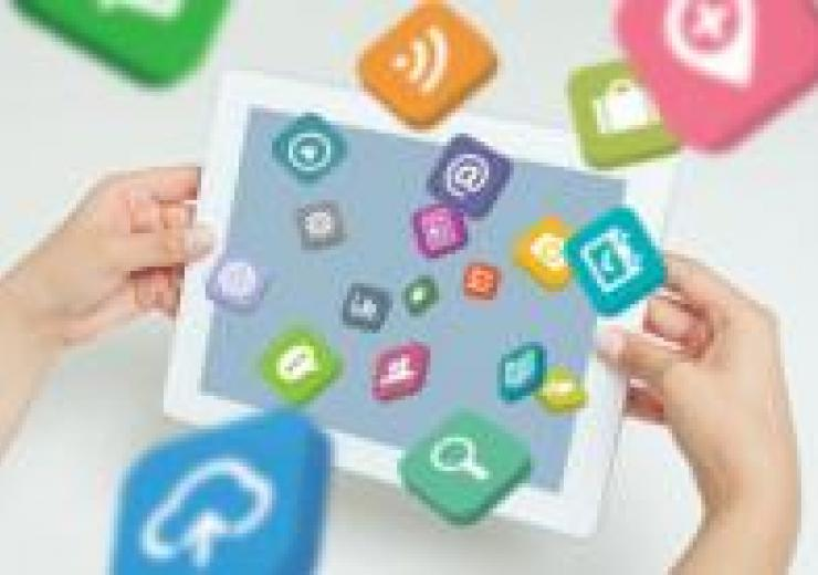 stock image of tablet with apps