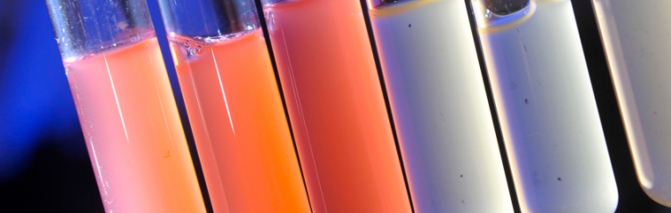 test tubes with different color